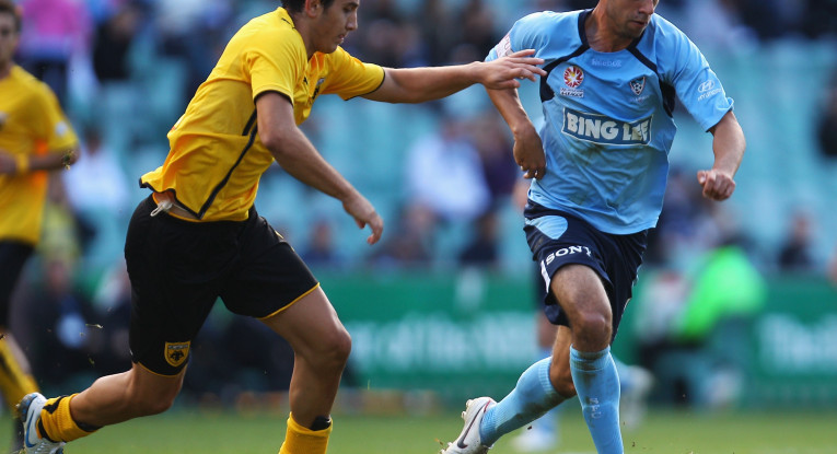 during the pre-season friendly match between Sydney FC and AEK Athens FC at the Sydney Football Stadium on July 25, 2010 in Sydney, Australia.