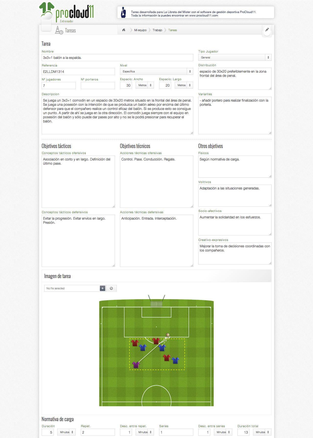 Ejercicio de fútbol.3x3+1 balón a la espalda.